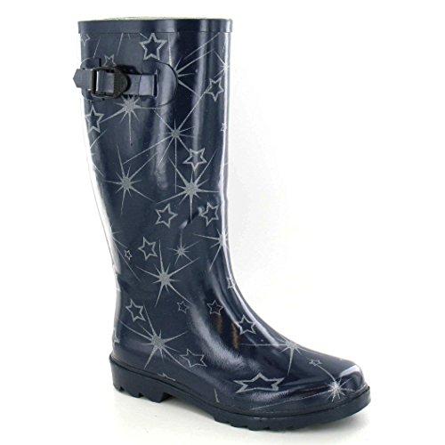 Rubber Pattern Wellington Boots Ladies Star Spot Black Womens On wIx4qIXv