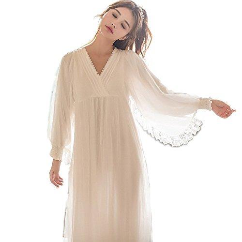 Womens Victorian Vintage Nightgown Princess Sleepwear Long Sleeve Lace Pajama Lace Nightdress Robe (White)