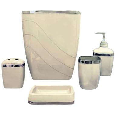 Carnation Home Fashions 5-Piece Plastic Bath Accessory Set, Ivory