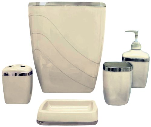 Carnation Home Fashions Plastic 5 Piece Bath Accessory Set