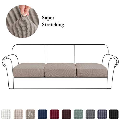 Couch Cushion Slipcover Set of 3, Sofa Seat Covers Jacquard Stretch Loveseat Furniture Protector Washable (3 Pieces Cushion Covers, Taupe) (Set Sofa Online)