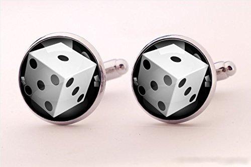 Dice Silver Cufflinks - Dice Cufflinks,Game Cufflinks,Special Cufflinks,Handmade Cufflinks,Glass Round Silver Cufflinks,Shirt Cufflinks,Men Cufflinks,Special Style,
