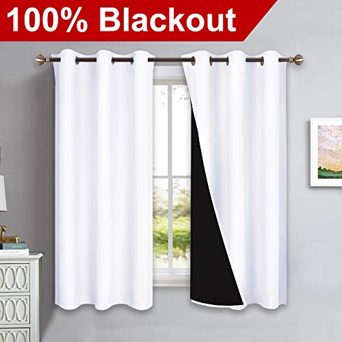 NICETOWN Pure White 100% Blackout Lined Curtains, 2 Thick Layers Completely Blackout Window Treatment Panels Thermal Insulated Drapes for Kitchen (1 Pair, 42