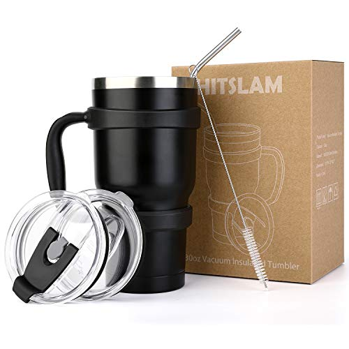 Hitchy Tumbler 30oz Double Wall Stainless Steel Vacuum Insulation Travel Mug for Cold Drink/Hot Beverage includes Straw Lid, Spill-Proof Sliding Lid, straw, Cleaning Brush, Grip-Friendly Handle