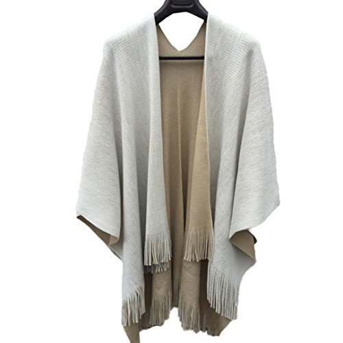 Hot Sales FimKaul Women Knitted Cashmere Poncho Capes Shawl Cardigans Sweater Coat (Beige) by FimKaul (Image #2)