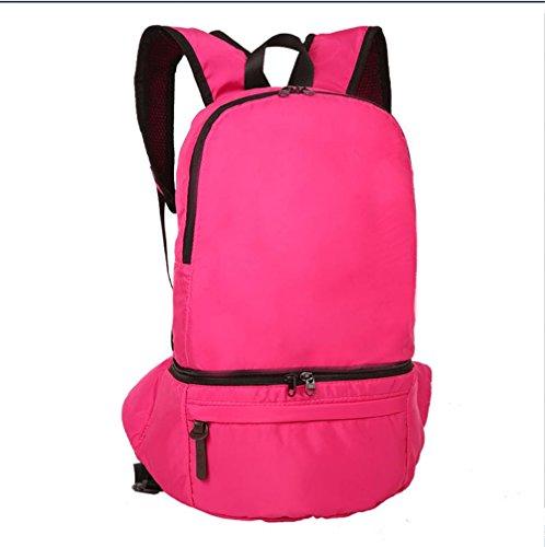 BUSL Gran capacidad salidas al aire libre senderismo bolsa impermeable de nylon plegable de 28L Mochila bolsa de almacenamiento . brown rose red