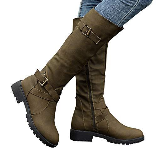 (COOKI Women Mid Calf Boots - Womens Knee High Calf Biker Boots Ladies Zip Punk Military Combat Army Boots)