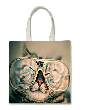 Cat Lover Kitten Kitty Whiskers Glasses Cute Face Halloween Trick Or Treat Polyester White Tote Bag 15x16x 3.5
