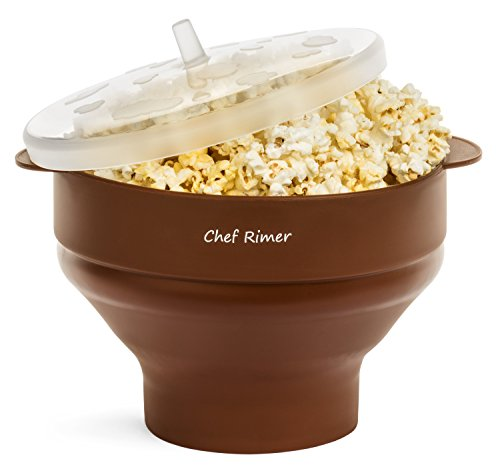 Chef Rimer Microwave Popcorn Popper Sturdy Convenient Handles Healthy No Oil Silicone Brown Collapsible Hot Air Movie Theater Aroma Great Popcorn Maker Machine.BPA PVC Free With Lid