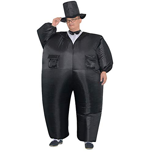 HHARTS Men's Suit Tux Inflatable Costume Blow up Fancy Dress Costume for Halloween Cosplay Party Christmas Adult Black Inflatable Costume]()