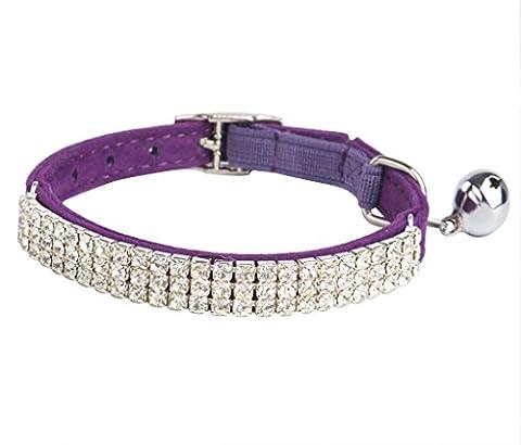 BINGPET Adjustable Cat Collar Soft Velvet Safe Collars Bling Diamante with Bells , Purple - Lighted Cat Collars