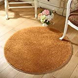 SVI Top Finel Hot High Quality Floor Mats Modern Shaggy Round Rugs and Carpets for Living Room Bedroom Carpet Rug for Home Yoga Mat khaki 80cmx80cm