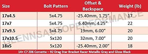 Race Star 92 Drag Star Bracket Racer 17x4.5 5x115bc 1.75bs Gloss Black Wheel
