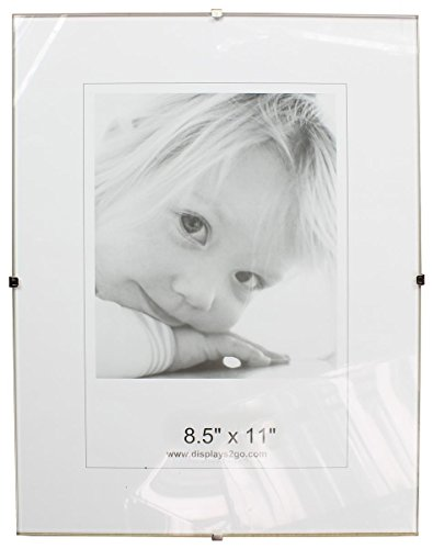 (Displays2go 8-1/2 x 11 x 1/4-Inch, Tempered Glass Frameless Clip Picture Frame for 8-1/2 x 11-Inch Documents, Wall-Mounted - Sold in Sets of 6)