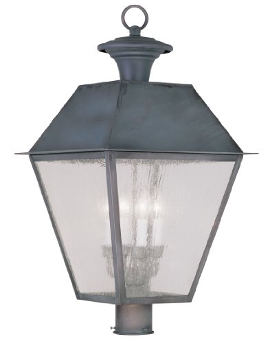 Livex Lighting 2173-61 Mansfield 4-Light Outdoor Post Head, (Post Mounted Charcoal)