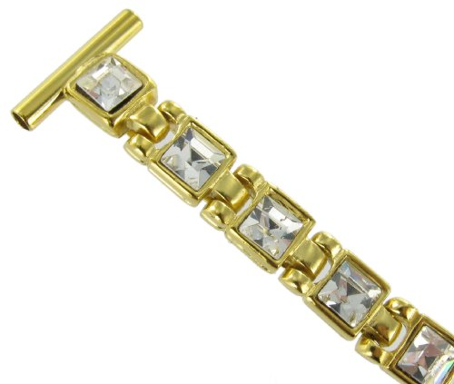 14mm Hadley Roma Gold Tone Square Crystals Micron Plate Elegant Watch Band LB1511Y with Safety (Milano Square Plate)