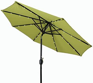 Trademark Innovations Deluxe Solar Powered LED Lighted Patio Umbrella – 8 Light Green
