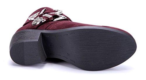 Schuhtempel24 Damen Schuhe Klassische Stiefeletten Stiefel Boots Blockabsatz Schnalle 5 cm Rot