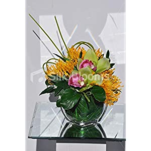 Silk Blooms Ltd Artificial Green Cymbidium Orchid and Yellow Protea Floral Arrangement w/Foliage 50