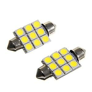 9 * 5050 SMD LED del coche 36 mm interior bóveda del adorno de la luz de bulbo blanco (dc12v 2pcs)