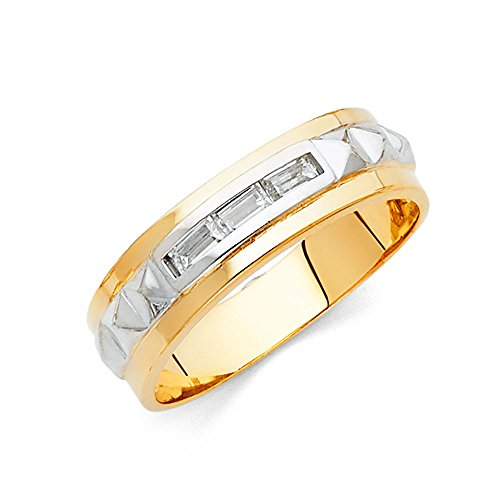 FB Jewels 14K White and Yellow Gold Ring Two Tone Gold Ring Baguette Cubic Zirconia CZ Mens Anniversary Wedding Band Size 5