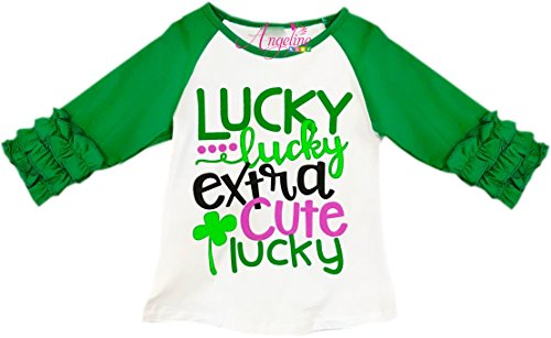 Angeline Toddler Little Girls ST. Patrick's Day Lucky Extra Cute Lucky Ruffles Raglan T-Shirt 6/XL -