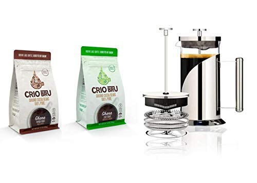 Crio Bru Welcome Starter Kit (2 10oz Bags + French Press) | Natural Healthy Brewed Cacao Drink | Great Substitute to…
