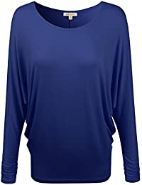 Basic Long Sleeve Rayon Span Round Scoop Neck Knit Batwing Dolman T Shirt Top For Women (Size S~3XL)