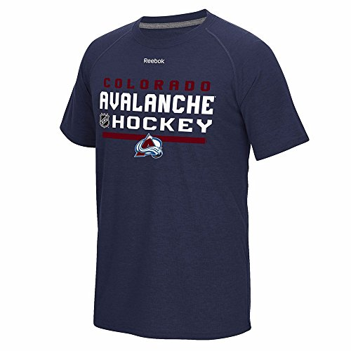 Reebok Colorado Avalanche T-shirt - Reebok Colorado Avalanche NHL Navy Blue Authentic Locker Room Graphic PlayDry Performance T-Shirt for Men (S)