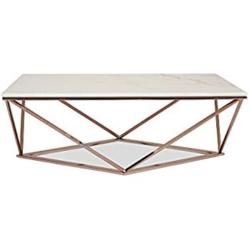 Amazoncom STELLA White Marble Coffee Table Modern Gold Coffee - Rectangle white marble coffee table