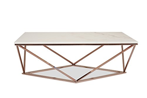 Amazon STELLA White Marble Coffee Table Modern Gold Coffee