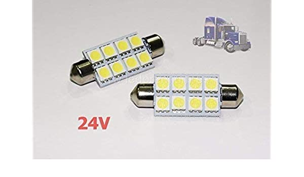 2x BOMBILLAS CAMIONES C5W 24 V 41MM WHITE 6000K LED LAMP LORRY TRUCK 41 FESTOON SV8.5: Amazon.es: Coche y moto
