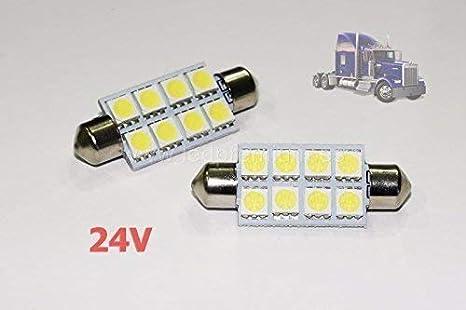 2x BOMBILLAS CAMIONES C5W 24 V 41MM WHITE 6000K LED LAMP LORRY TRUCK 41 FESTOON SV8.5: Amazon.es: Coche y moto