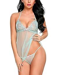 1495485d53 Women Babydoll Lingerie Lace Chemise Halter Nightwear Teddy Dress