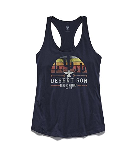 Flag & Anthem x Desert Son by Dierks Bentley Women's Zona Sunrise Racerback Tank, L, Navy (Desert Cam)