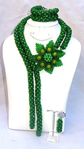 Prestigeapplause Vert Motif tulipe africain Perles de mariage fête Ensemble de bijoux