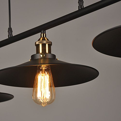 WINSOON Ship from USA Creative Pulley Design Black Iron Painted 3-Lights Island Light Bar Retro Hanging Lamp 3 Heads by WINSOON (Image #7)
