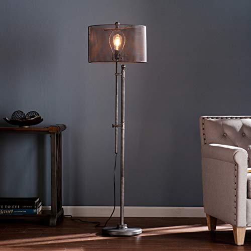 (Industrial Floor Lamp - Modern All-Metal Mesh Shade - Rusty, Oiled Bronze-Style and Grey Finish - Great for Home or Office Decoration)