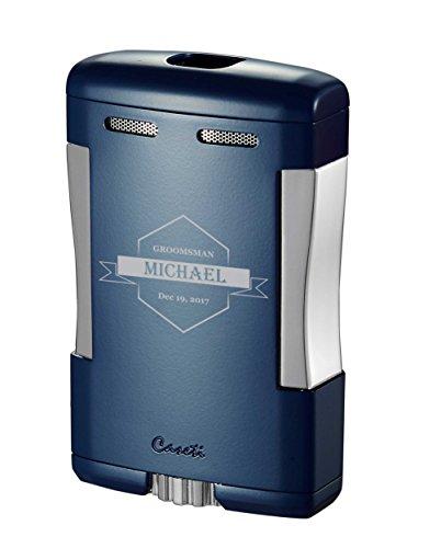 Personalized Groomsmen Caseti Sparta Triple Jet Flame Cigar Table Lighter - Blue Matte (Flame Triple Table)