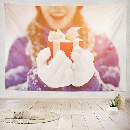 Summor Tapestry Pretty Teenage Girl with Gift Her Winter Christmas Teen Fun Hanging Tapestries 80 x 60 inch Wall Hanging Decor for Bedroom Livingroom Dorm