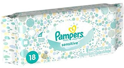 Pampers Baby Wipes Tub, Sensitive 64 ct + Bonus Travel Pack 18 ct