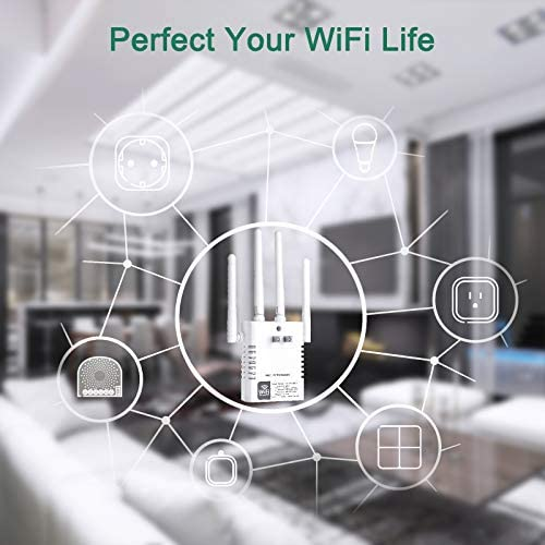Aigital WiFi Range Extender, 1200Mbps WiFi Singal Booster Wireless Internet Amplifer, 2.4GHz & 5GHz Dual Band WiFi Extender with 4 Advanced External Antennas and Ethernet Port, 360° Full Coverage