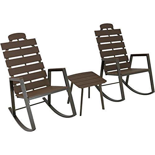 Sunnydaze All-Weather Slatted Outdoor Patio Rocking Chairs with Side Table, Front Porch Furniture 3-Piece Set, Faux Wood ()