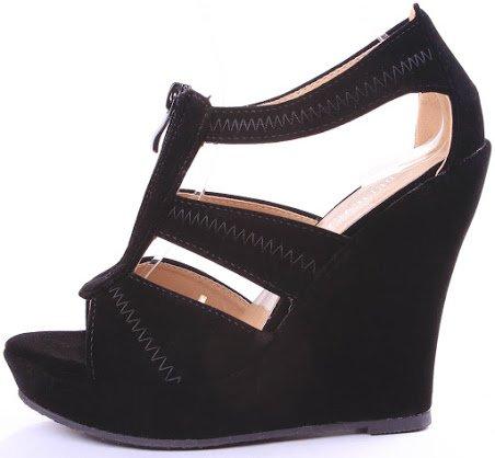 Emmie T-strap Open Toe Faux Suede Comfort Platform Wedge Sandals B00JIG7LG8 5 B(M) US|Black