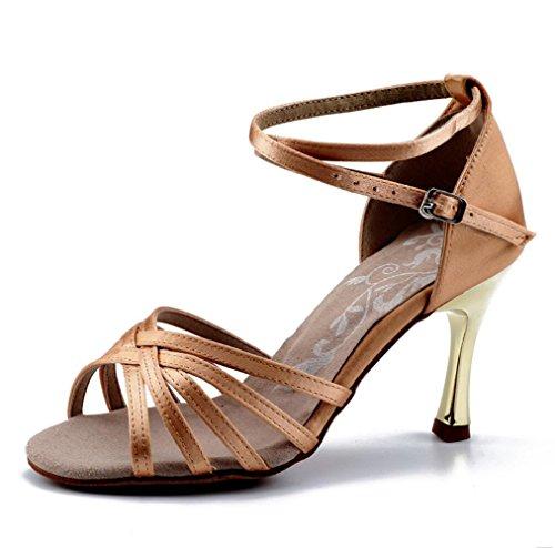 Suave Latino 7 Alta Satén Zapatos Oro Root Baile Piel De 5cm Inferior Femenino Clara Color qnFqYZXO