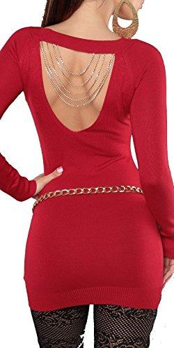 et 38 strass chaines Rouge 34 FASHION dos 40 pull taille 36 sexy femme BOUTIK avec au long wpqq6XUa4