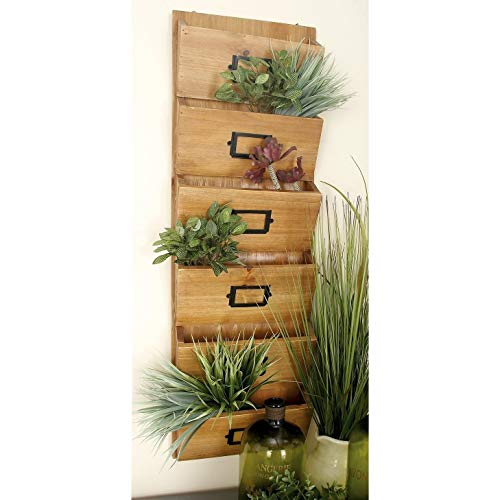 (6 Tiered Brown Wooden Bill Organizer Wall Mount Mail Holder Letter Shelf Rack Hanging Office Storage Pockets Entryway)