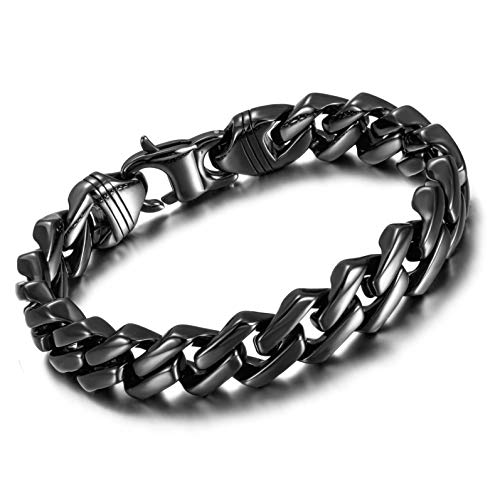 Wistic 18k Gold Plated 12mm/15mm Cuban Link Chain Bracelet 316L Stainless Steel Polished for Men Boy(Black, 8.3)