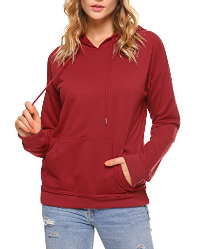Aibrou Women Pullover Hoodie Long Sleeve Casual Sweatshirt,Large,Red (Pullover Hoodies Womens Lightweight)