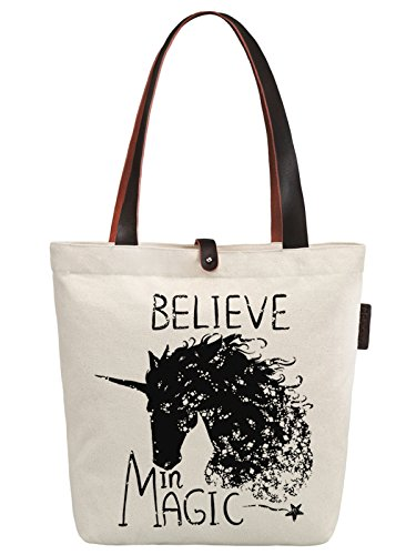So'each Women's Believe Magic Unicorn Graphic Canvas Handbag Tote Shoulder Bag by So'each